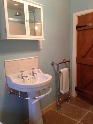 Brand new sink and towel rail.
